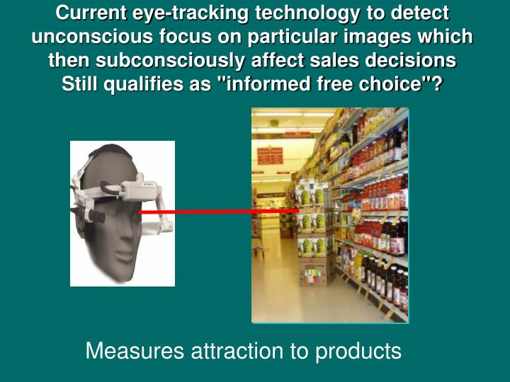 Current eye-tracking technology to detect unconscious focus on particular images which then subconsciously affect sales decisions