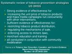 systematic review of tobacco prevention strategies us dhss