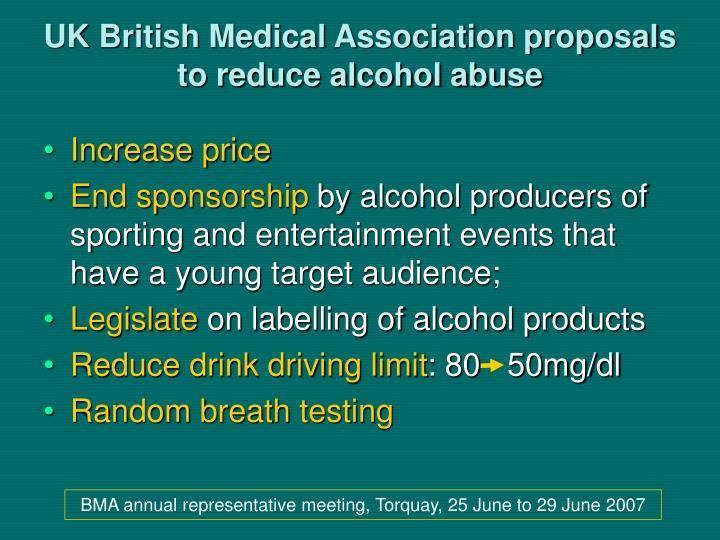 UK British Medical Association proposals to reduce alcohol abuse