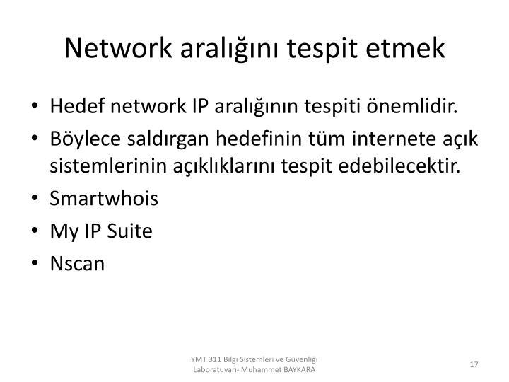 Network aralığını tespit etmek