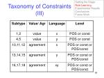 taxonomy of constraints iii