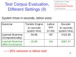 test corpus evaluation different settings ii