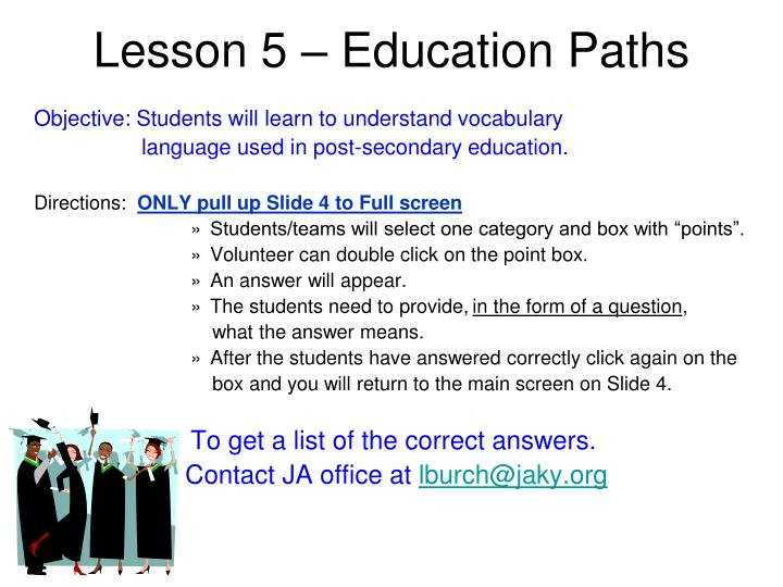 Lesson 5 – Education Paths