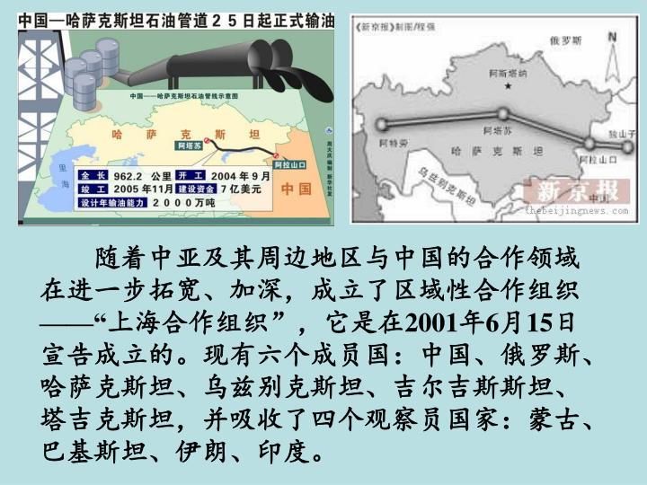 随着中亚及其周边地区与中国的合作领域