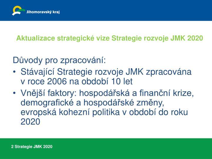 Aktualizace strategické vize Strategie rozvoje JMK 2020
