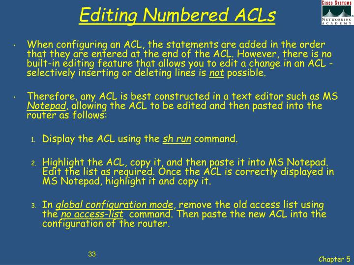 Editing Numbered ACLs