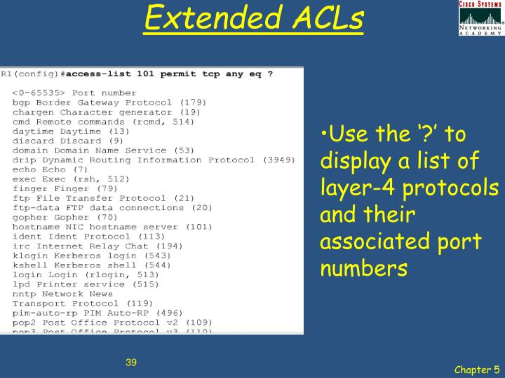 Extended ACLs
