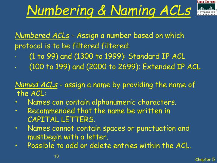 Numbering & Naming ACLs