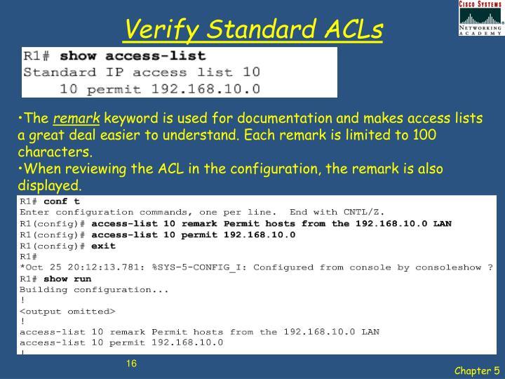 Verify Standard ACLs