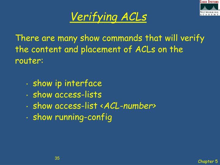 Verifying ACLs