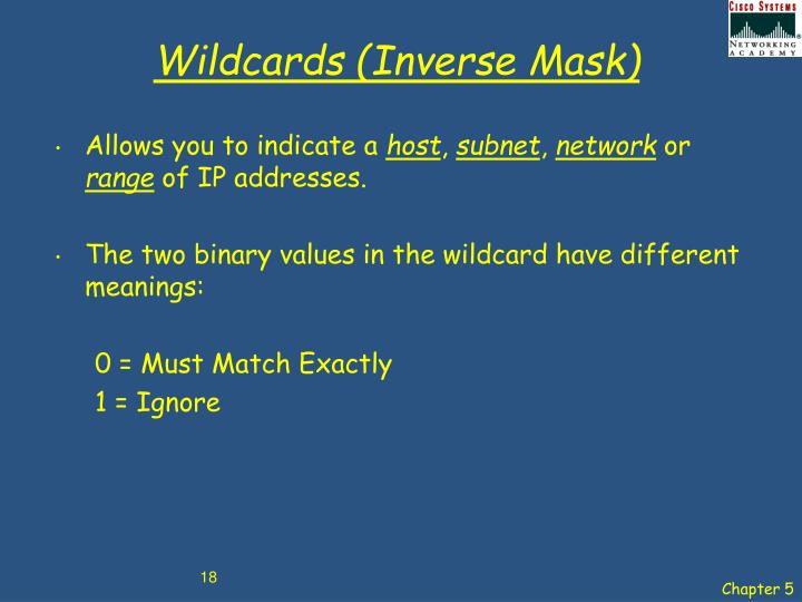 Wildcards (Inverse Mask)
