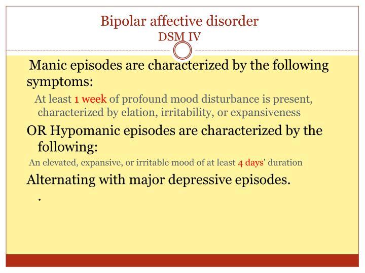 Bipolar affective disorder
