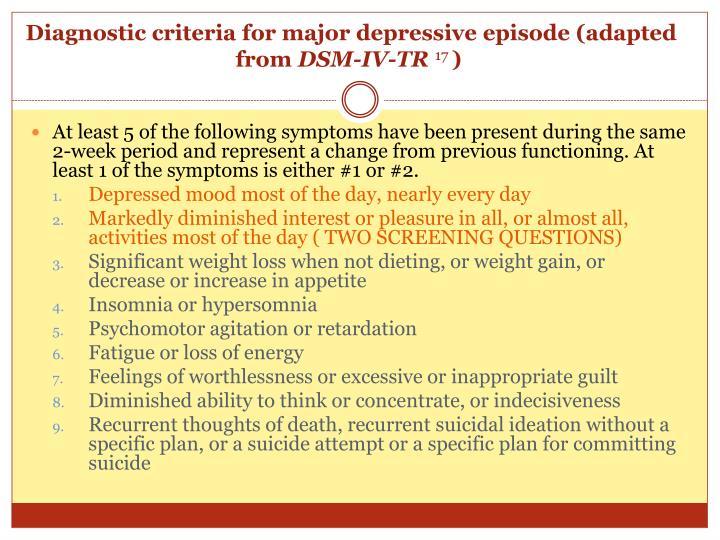 Diagnostic criteria for major depressive episode (adapted from