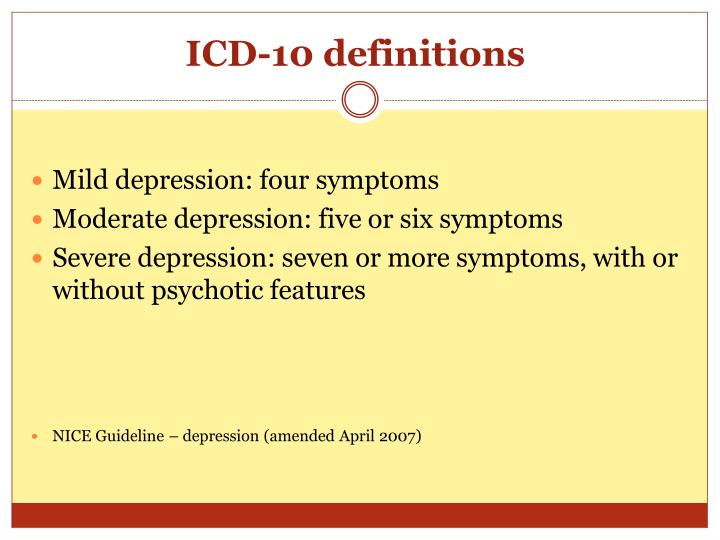 ICD-10 definitions