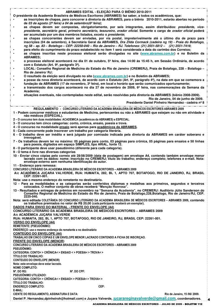 ABRAMES EDITAL - ELEIÇÃO PARA O BIÊNIO 2010-2011