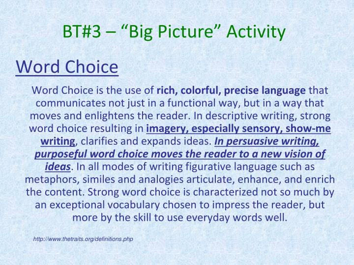 "BT#3 – ""Big Picture"" Activity"