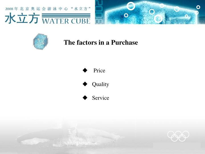 The factors in a Purchase