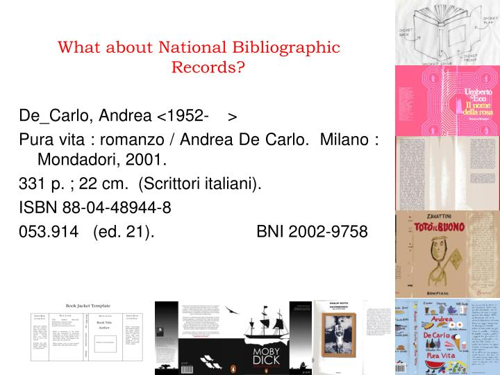 What about National Bibliographic Records?