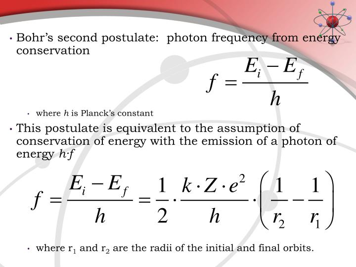 Bohr's second postulate:  photon frequency from energy conservation
