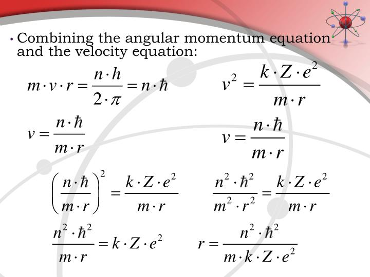 Combining the angular momentum equation and the velocity equation: