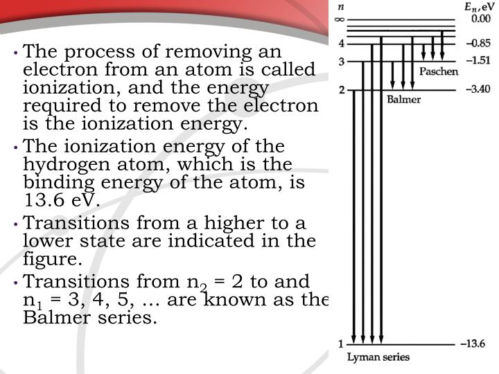 The process of removing an electron from an atom is called ionization, and the energy required to remove the electron is the ionization energy.
