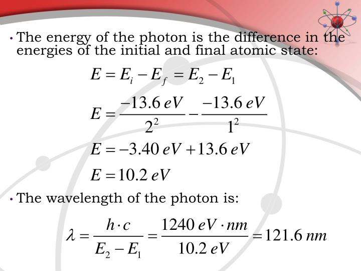 The energy of the photon is the difference in the energies of the initial and final atomic state: