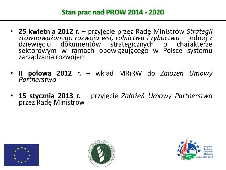 Stan prac nad PROW 2014 - 2020