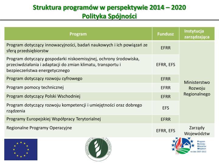 Struktura programów w perspektywie 2014 – 2020
