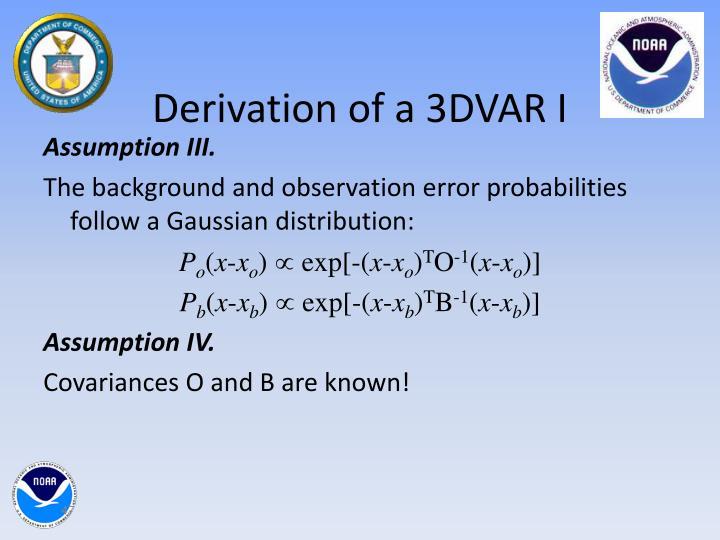 Derivation of a 3DVAR I