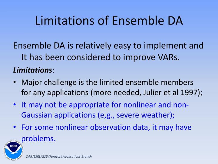 Limitations of Ensemble DA
