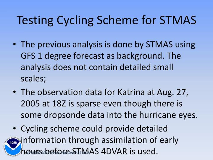 Testing Cycling Scheme for STMAS