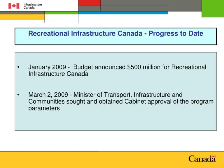 Recreational Infrastructure Canada - Progress to Date