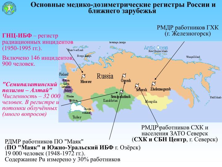 Основные медико-дозиметрические регистры России и ближнего зарубежья