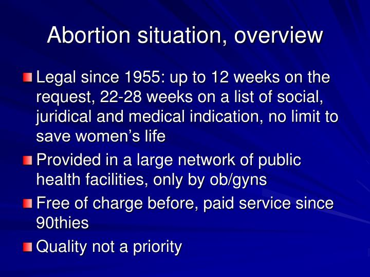 Abortion situation, overview