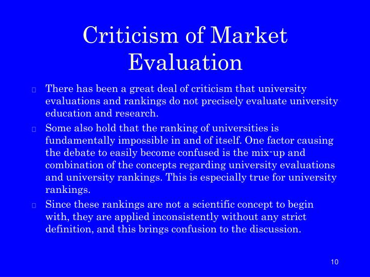 Criticism of Market Evaluation