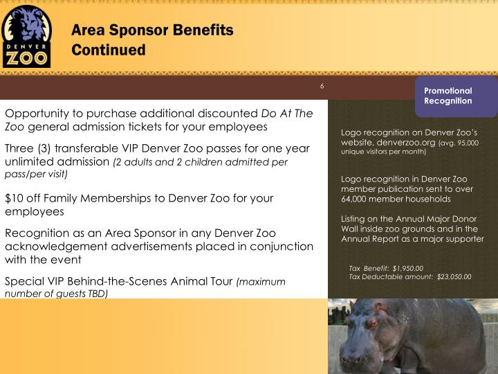 Area Sponsor Benefits Continued