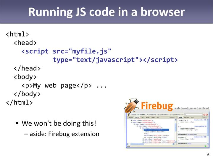 Running JS code in a browser