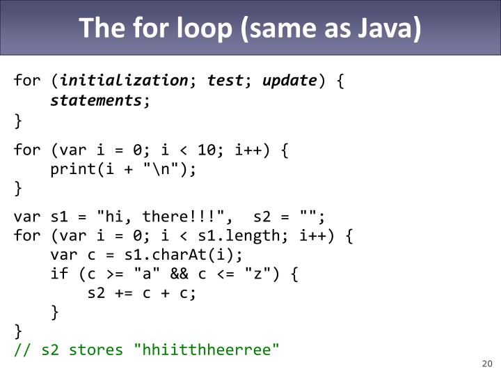 The for loop (same as Java)
