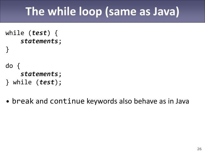 The while loop (same as Java)