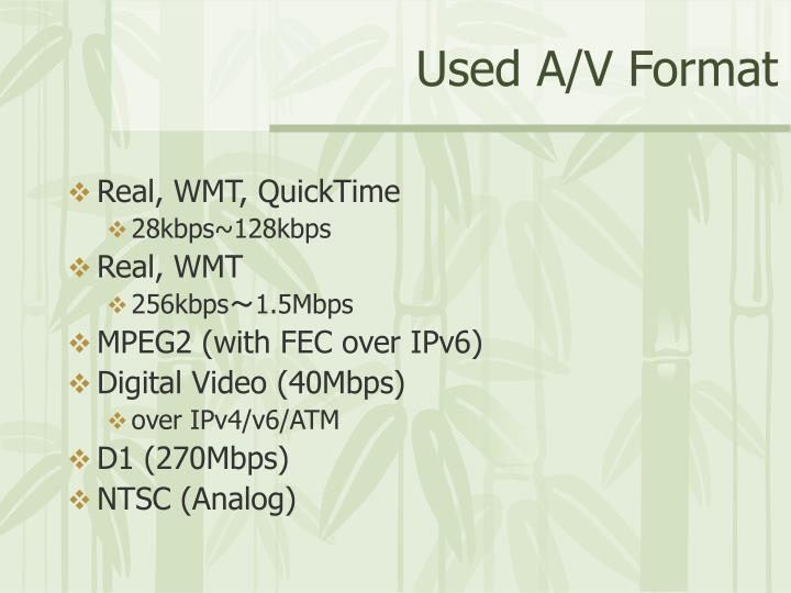 Used A/V Format