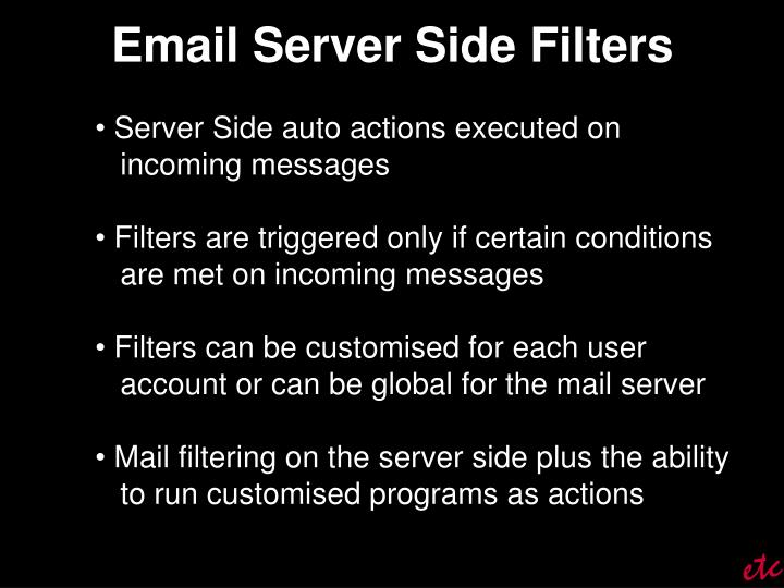Email Server Side Filters