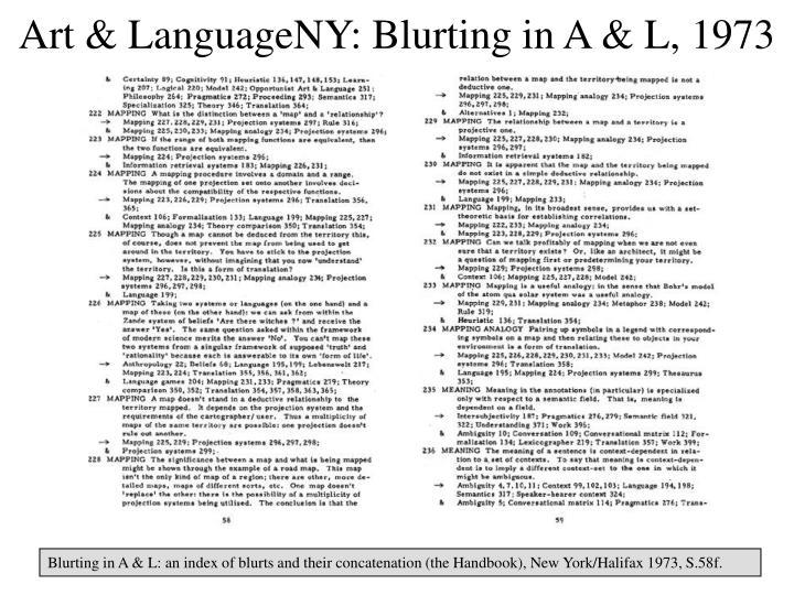 Art & LanguageNY: Blurting in A & L, 1973