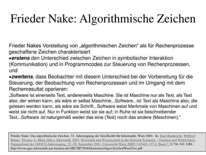 Frieder Nake: Algorithmische Zeichen