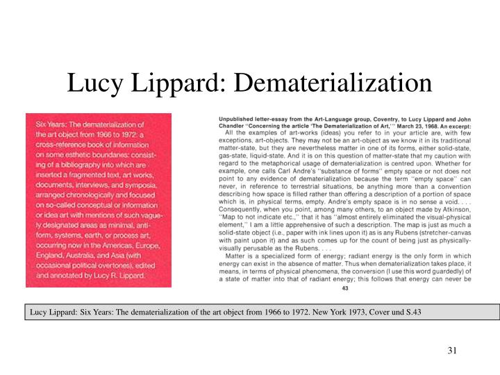 Lucy Lippard: Dematerialization