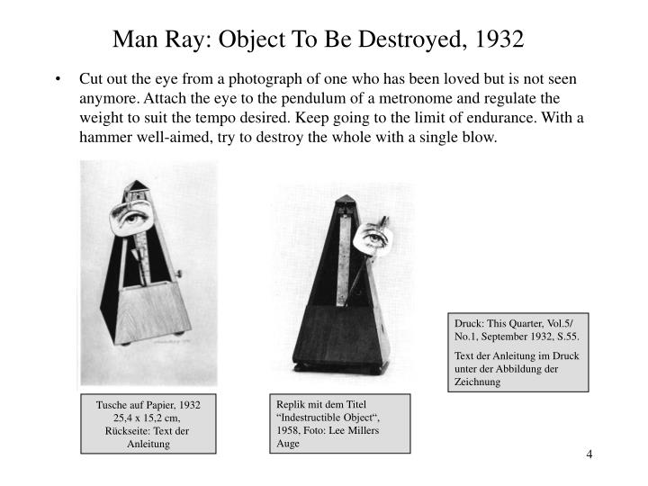 Man Ray: Object To Be Destroyed, 1932