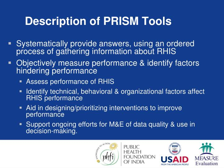 Description of PRISM Tools