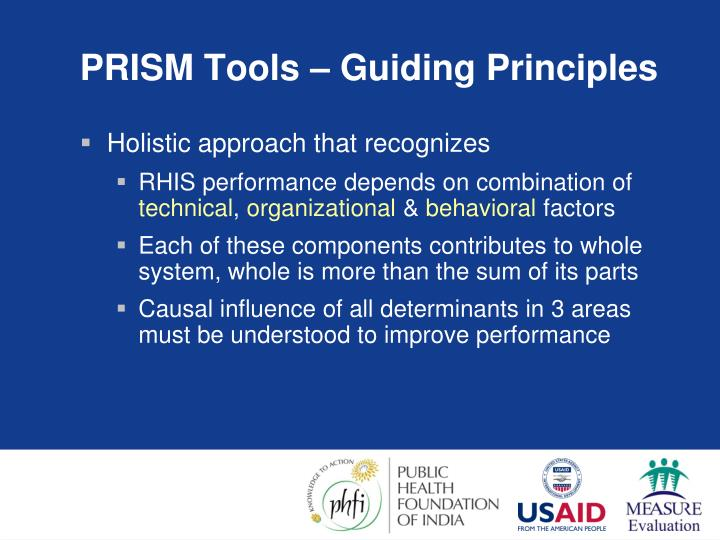 PRISM Tools – Guiding Principles