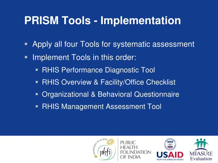 PRISM Tools - Implementation