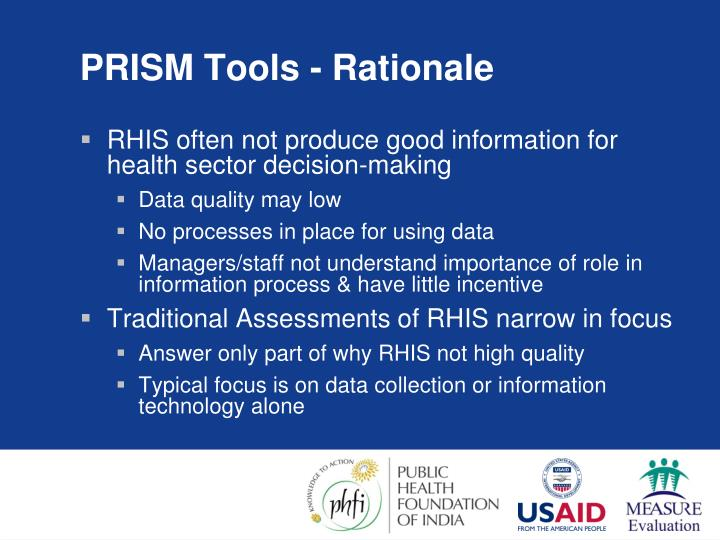 PRISM Tools - Rationale