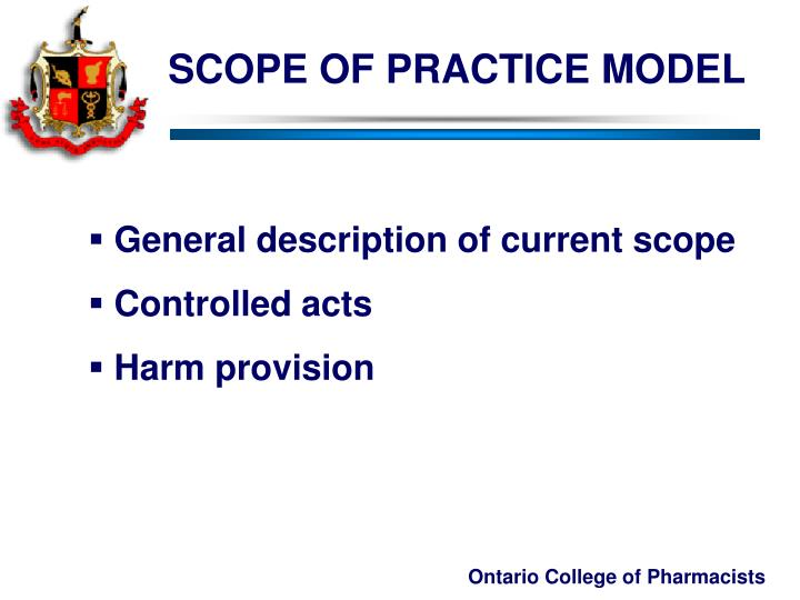 SCOPE OF PRACTICE MODEL
